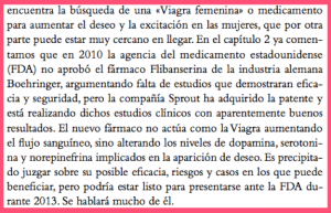 """Fragmento del libro """"S=EX2: La ciencia del sexo"""", donde ya se habla del flibanserin"""